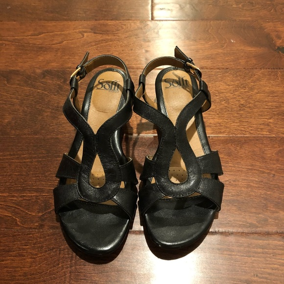 202c022da0a98f Sofft Black Wedge Sandals